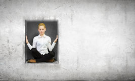 Woman in cube Stock Photography