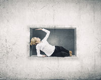 Woman in cube Royalty Free Stock Photo