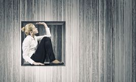 Woman in cube Royalty Free Stock Image