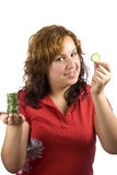 Woman and cucumber Royalty Free Stock Photo