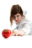 Woman with cue and billiard ball Stock Photos