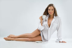 Woman With a Cup Royalty Free Stock Images
