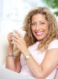Woman with a cup Royalty Free Stock Photos