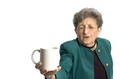 Woman with cup. Ooh a nice cup of coffee for a pretty woman senior royalty free stock photos