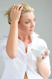 Woman with cup Stock Images