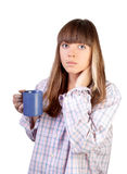 Woman with cup. Portrait of beautiful young woman drinking coffee royalty free stock photography