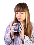 Woman with cup. Portrait of beautiful young woman drinking coffee Royalty Free Stock Photos