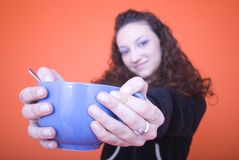 Woman with cup Stock Photo