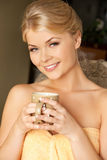 Woman with a cup Stock Photography