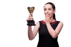 The woman with cup award isolated on white. Woman with cup award isolated on white royalty free stock images
