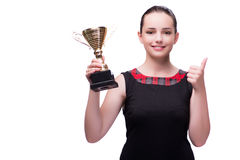 The woman with cup award isolated on white Royalty Free Stock Image