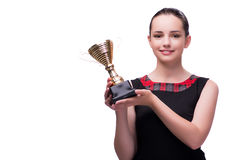 The woman with cup award isolated on white Royalty Free Stock Images