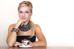 Woman with cup of chocolate Royalty Free Stock Photography
