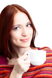 Woman With Cup Of Coffe Stock Images