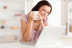 Woman with cup of coffe and notebook Royalty Free Stock Photo