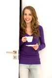 Woman with cup of coffee Stock Image
