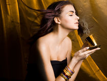 Woman with cup of coffee. Beautiful woman with cup of coffee Stock Photos