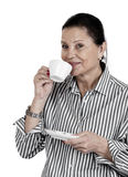 Woman with a cup-a-coffee Stock Images