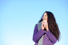 Woman with cup of coffee Stock Photography