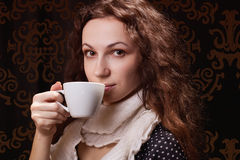 Woman with cup Stock Photos