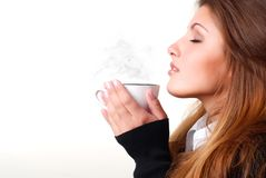 Woman with cup of coffee. Portrait of beautiful young woman with cup of coffee Royalty Free Stock Photo
