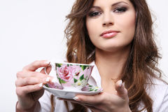 Woman with cup of coffee. Beautiful young woman with cup of coffee Stock Photography