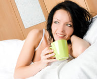 Woman with a cup of coffee Stock Photo