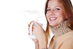 Woman and cup of coffee Stock Images
