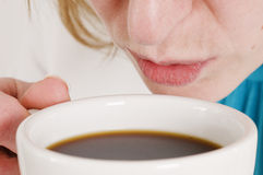 Woman with cup of coffee Stock Images