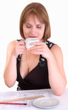 woman with a cup of coffee Stock Image