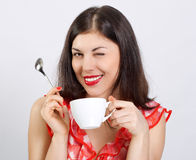 woman with a cup of coffee Royalty Free Stock Photography