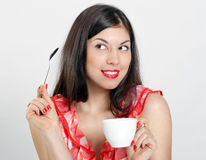 Woman with a cup of coffee Royalty Free Stock Image
