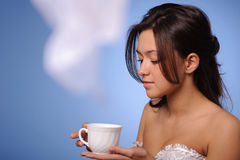 Woman with cup of coffee, tea Royalty Free Stock Photo