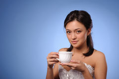 Woman with cup of coffee, tea Royalty Free Stock Photos