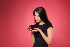 Woman with cup of coffee, tea or hot chocolate Stock Images