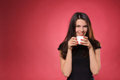 Woman with cup of coffee, tea or hot chocolate Royalty Free Stock Photo
