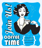 Woman with cup of coffee or tea Retro Poster Design. Retro Poster Design Template woman with cup of coffee or tea Stock Images