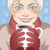 Woman with cup of coffee. Vector image of the woman drinking coffee Royalty Free Stock Photo
