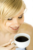Woman with a cup of coffee royalty free stock images