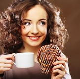 Woman with a cup of espresso coffee Royalty Free Stock Image