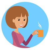 Woman with cup in her hand drinking hot coffee. Vector illustration icon Royalty Free Stock Image