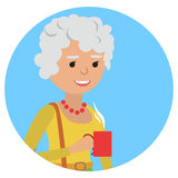 Woman with cup in her hand drinking hot coffee. Vector illustration icon Royalty Free Stock Photography