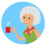 Woman with cup in her hand drinking hot coffee. Vector illustration icon Stock Images