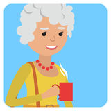 Woman with cup in her hand drinking hot coffee. Vector illustration icon Royalty Free Stock Images