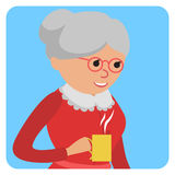 Woman with cup in her hand drinking hot coffee. Vector illustration icon Stock Photos