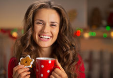 Woman with cup of hot chocolate and cookies Royalty Free Stock Photo