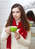 Woman with cup of medicine gargling Stock Photos