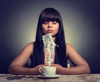 Woman with a cup Royalty Free Stock Image