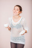 Woman with cup and saucer Stock Photo