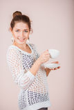 Woman with cup and saucer Royalty Free Stock Images